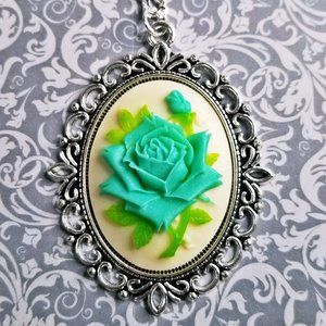 Blue & Green Rose Cameo Silver Necklace